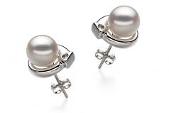 Angelina Blanc 7-8mm AA-qualité Akoya du Japon 925/1000 Argent-Boucles d'oreilles en perles