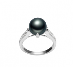 Erica Noir 8-9mm AAA-qualité perles d'eau douce 925/1000 Argent-Bague perles
