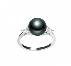 Dacey Noir 8-9mm AAA-qualité perles d'eau douce 925/1000 Argent-Bague perles