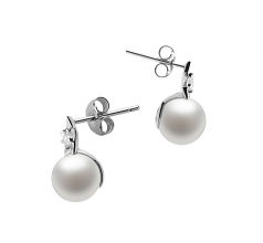 étoile Blanc 7-8mm AAAA-qualité perles d'eau douce 925/1000 Argent-Boucles d'oreilles en perles
