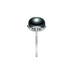 Kalina Noir 11-12mm AAA-qualité perles d'eau douce 925/1000 Argent-Bague perles
