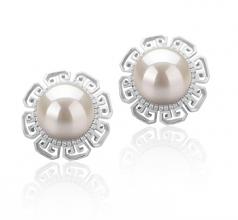 Leonie Blanc 9-10mm AAAA-qualité perles d'eau douce 925/1000 Argent-Boucles d'oreilles en perles