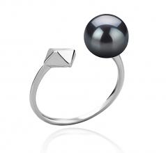 Alma Noir 7-8mm AAAA-qualité perles d'eau douce 925/1000 Argent-Bague perles
