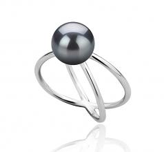 Esty Noir 8-9mm AAA-qualité perles d'eau douce 925/1000 Argent-Bague perles