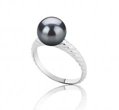 Mada Noir 8-9mm AAAA-qualité perles d'eau douce 925/1000 Argent-Bague perles