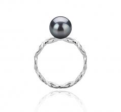 Wave Noir 7-8mm AAAA-qualité perles d'eau douce 925/1000 Argent-Bague perles