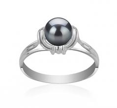 Joy Noir 6-7mm AAAA-qualité perles d'eau douce 925/1000 Argent-Bague perles