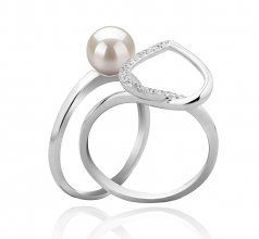 Coeur Blanc 6-7mm AAAA-qualité perles d'eau douce 925/1000 Argent-Bague perles