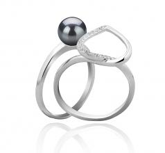 Coeur Noir 6-7mm AAAA-qualité perles d'eau douce 925/1000 Argent-Bague perles