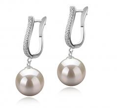 Ophélie Blanc 10-11mm AAAA-qualité perles d'eau douce 925/1000 Argent-Boucles d'oreilles en perles