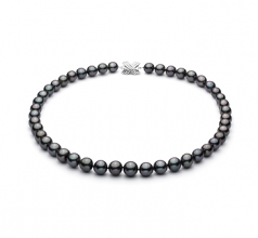 Noir 9.1-11mm AA+-qualité de Tahiti 585/1000 Or Blanc-Collier de perles