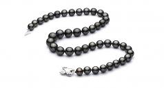 Noir 9.5-11mm AAA-qualité de Tahiti 585/1000 Or Blanc-Collier de perles