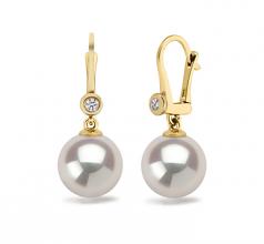 Illuminate Blanc 8.5-9mm AAAA-qualité perles d'eau douce 585/1000 Or Jaune-Boucles d'oreilles en perles