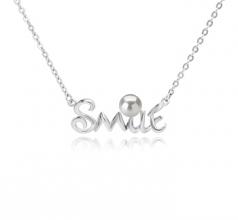 Smile Blanc 5-6mm AAAA-qualité perles d'eau douce 925/1000 Argent-Collier de perles