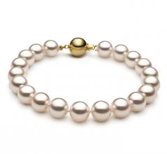 Blanc 8.5-9mm Hanadama - AAAA-qualité Akoya du Japon 585/1000 Or Jaune-Bracelet de perles