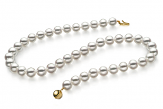 Blanc 9-9.5mm Hanadama - AAAA-qualité Akoya du Japon 585/1000 Or Jaune-Collier de perles
