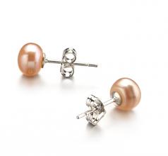 Rose 6-7mm AA-qualité perles d'eau douce-Boucles d'oreilles en perles