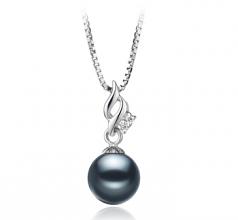 Zalina Noir 7-8mm AAAA-qualité perles d'eau douce 925/1000 Argent-pendentif en perles