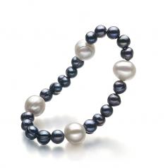 Irina Noir et Blanc 6-11mm A-qualité perles d'eau douce -Bracelet de perles