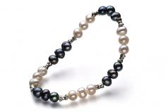 YinYang Noir et Blanc 6-7mm A-qualité perles d'eau douce -Bracelet de perles