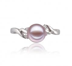 Andrea Lavande 6-7mm AAAA-qualité perles d'eau douce 585/1000 Or Blanc-Bague perles