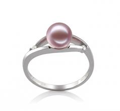 Tanya Lavande 6-7mm AAAA-qualité perles d'eau douce 585/1000 Or Blanc-Bague perles
