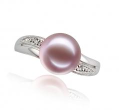 Caroline Lavande 9-10mm AAAA-qualité perles d'eau douce 585/1000 Or Blanc-Bague perles