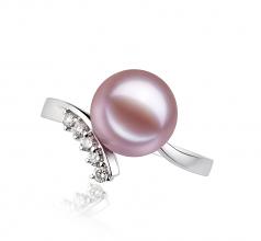 Grace Lavande 9-10mm AAAA-qualité perles d'eau douce 585/1000 Or Blanc-Bague perles