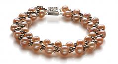Vague Rose 6-7mm A-qualité perles d'eau douce -un set en perles