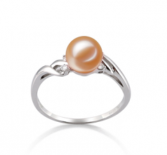 Andrea Rose 6-7mm AAAA-qualité perles d'eau douce 585/1000 Or Blanc-Bague perles