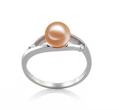 Tanya Rose 6-7mm AAAA-qualité perles d'eau douce 585/1000 Or Blanc-Bague perles