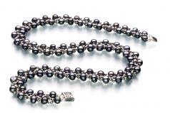 Vague Noir 6-7mm A-qualité perles d'eau douce -un set en perles