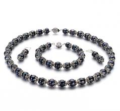 MarieAnt Noir 8-9mm AA-qualité perles d'eau douce 925/1000 Argent-un set en perles