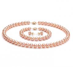 Rose 7-8mm AA-qualité perles d'eau douce-un set en perles