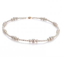 Ida Blanc 3-8mm A-qualité perles d'eau douce Rempli D'or-Collier de perles