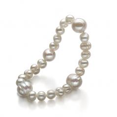 Irina Blanc 6-11mm A-qualité perles d'eau douce -Bracelet de perles