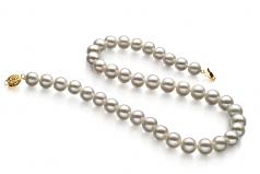 Blanc 9-10mm AAA-qualité perles d'eau douce Rempli D'or-Collier de perles