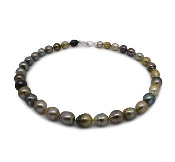 16 pouces Multicolore 8-10mm Baroque-qualité de Tahiti 925/1000 Argent-Collier de perles