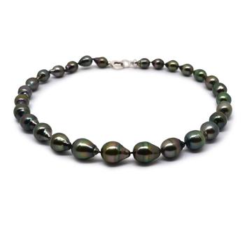 17 pouces Noir vermillion 9-12mm Baroque-qualité de Tahiti 925/1000 Argent-Collier de perles