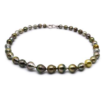 17 pouces Multicolore 8-10mm Baroque-qualité de Tahiti 925/1000 Argent-Collier de perles