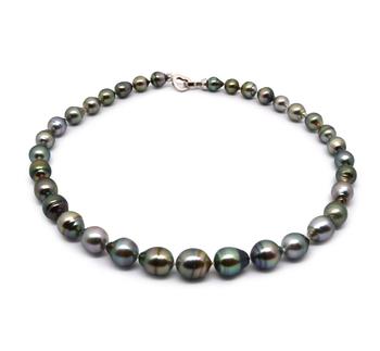 17 pouces Multicolore 8-11mm Baroque-qualité de Tahiti 925/1000 Argent-Collier de perles