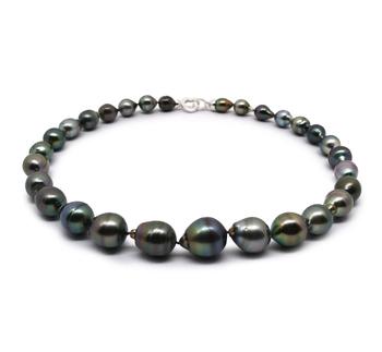 17 pouces Multicolore 8-14mm Baroque-qualité de Tahiti 925/1000 Argent-Collier de perles