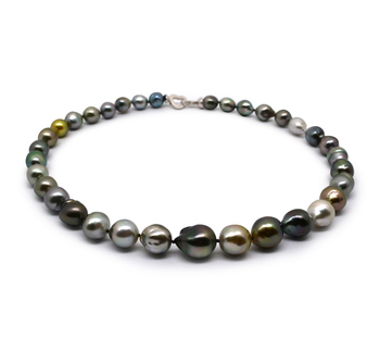 17 pouces Multicolore 9-12mm Baroque-qualité de Tahiti 925/1000 Argent-Collier de perles