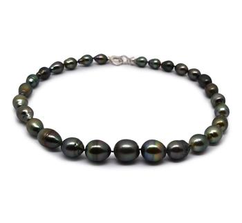 17 pouces Multicolore 9-13mm Baroque-qualité de Tahiti 925/1000 Argent-Collier de perles