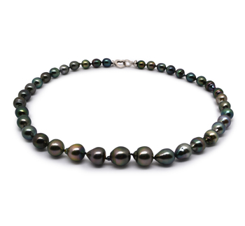17,5 pouces Multicolore 8-11mm Baroque-qualité de Tahiti 925/1000 Argent-Collier de perles