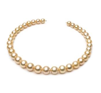 18 pouces Or 10-13.3mm AAA-qualité des Mers du Sud 585/1000 Or Jaune-Collier de perles