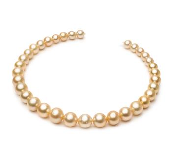 18 pouces Or 10.1-14.6mm AA-qualité des Mers du Sud 585/1000 Or Jaune-Collier de perles
