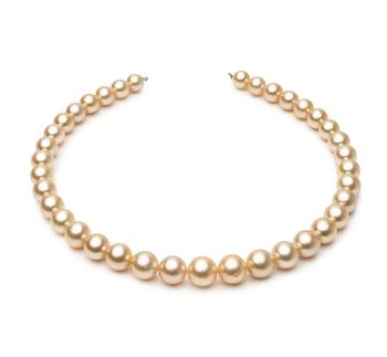 18 pouces Or 9.6-12.6mm AA+-qualité des Mers du Sud 585/1000 Or Jaune-Collier de perles