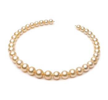 18 pouces Or 9.3-13.2mm AA+-qualité des Mers du Sud 585/1000 Or Jaune-Collier de perles