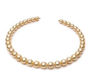 18 pouces Or 9.5-11.9mm AA-qualité des Mers du Sud 585/1000 Or Jaune-Collier de perles